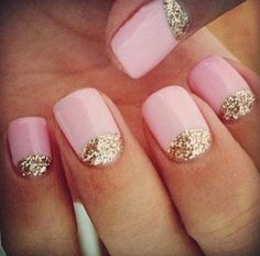 Pink and sparkly gold manicure
