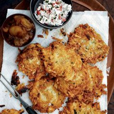 From Epicurious: Latkes with Lots of Sauces