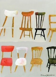 Takao Nakagawa - chair still life drawings / paintings, what? Chair Drawing, Painting & Drawing, Graphic Design Illustration, Illustration Art, Decoupage, Love Chair, Art Plastique, Naive, Japanese Art