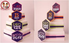 Cake Graphique Hexagone - Graphic cake - Cake design is our favorite work in art - Un Jeu d'Enfant - Cake Design - Nantes