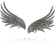 Ana Khouri Wing 18-karat blackened gold diamond earrings on shopstyle.com
