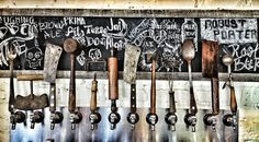 How great is this? Art Meripol, a photographer friend of mine just shot this bank of beer taps made out of cool old kitchen utensils at Yardbird in Miami Beach. LOVE THIS!!!!