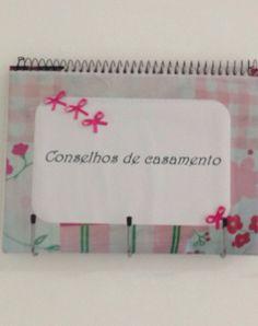 Caderno de recados para convidadas escreverem. Chá de cozinha.