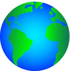 Free clip art of a shiny blue and green planet Earth