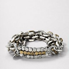 Drama Chain Bracelet $38.00 #chainlink #mesh #silver #gold #bracelet #accessories #jewelry #fossil