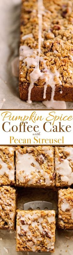 Pumpkin Coffee Cake with Pecan Streusel Topping - Loaded with sweet pumpkin spice, lightly sweeter but so moist! #pumpkin #coffeecake #pumpkincale | littlespicejar.com