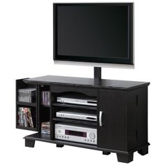Walker Edison 42-Inch Wood TV Stand Console with Mount, Black