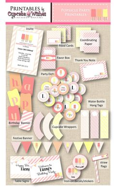 Popsicle Party Printables in coral, peach, pink and yellow  {via Etsy}