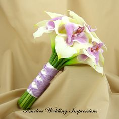 Wedding Bouquet Calla Lilies Orchids Real Touch Bridal Flowers White Purple Lavender. $95.00, via Etsy.