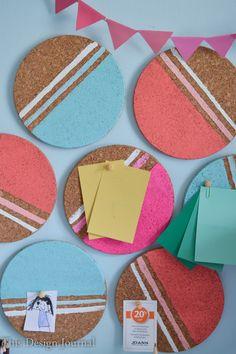 DIY CORK BULLETIN BOARD - Painted Geometric Circles to hang notes on