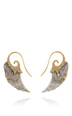Fly Me To The Moon Grey Agate Wing Earrings in 18K Gold and Brown Diamonds by Noor Fares for Preorder on Moda Operandi