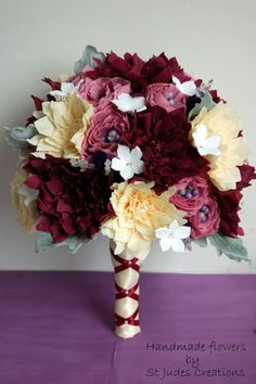 """paper flower wedding bouquet burgundy fall colors,$160 http://stjudescreations.com/the-book.html for my new book """"How to make 100 Paper Flowers"""""""