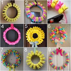Peeps Wreaths.  Click the photo and you'll be at Rainbows & Unicorns, a Tumblr blog with lots of links to fabulous, family-friendly crafts & DIY stuff.