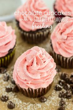 Chocolate Cupcakes with a Strawberry Mousse Frosting - #Desserts, #Food, #Recipes - FoodOMG.Com