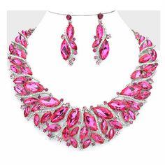 Statement Luxus Set Schmuckset Collier Lange Ohrringe Kristall Klar Pink Fuchsia