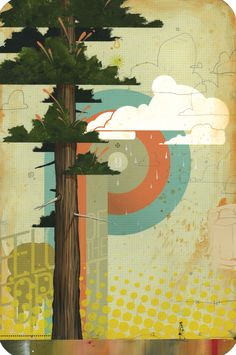"""Mural for the side of our teardrop!  """"Forests & Felonies""""  21 x 14″  Mixed Media on Archival Paper  By Blaine Fontana"""