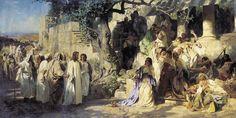 Christ and Sinner by the polish  painter Henryk Siemiradzki.                  Cristo odia el pecado y ama al pecador. Ellos supieron que el era un santo maestro, más la mayoría de ellos no querían cambiar su vida de placeres. Cristo hubiera hecho un prodigio para convencerlos, pero arriesgaba la misión que el Padre celestial le había encomendado, aún así les advirtió que los pecados que practicaban eran mal vistos por Dios. Revelación a María Valtorta.