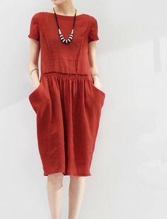 Women  brick red white black dress Summer tops Summer blouse  Linen Handmade comfy dress (WD11164)