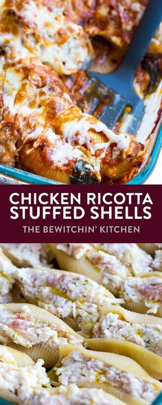 Chicken Ricotta Stuffed Shells - this pasta dinner recipe is amazing! Honey garlic chicken sausage, ricotta cheese, parmesan all stuffed in a jumbo pasta shell. Served with mozzarella cheese and a homemade tomato sauce with spinach. This recipe is the perfect family dish to bring to a potluck or family party. One of my favorite recipes! #thebewitchinkitchen #spinachricottashells #stuffedshells #pastarecipe #comfortfood #potluckrecipes #chickenstuffedshells #chickenricottastuffedshells