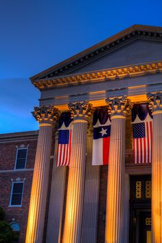 Evening Flags at Dallas Hall at #SMU