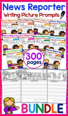 Writing Picture Prompts - News Reporter THE BUNDLE contains 300 pages of picture prompts worksheets. This product is suitable for kindergarten and first grade students. Children are encouraged to use thinking skills by becoming news reporter while improving their writing skills throughout the year. Kindergarten | Kindergarten Worksheets | First Grade | First Grade Worksheets | Picture Prompts The Bundle | Writing Prompts | Picture Prompts Worksheets | Kindergarten Writing