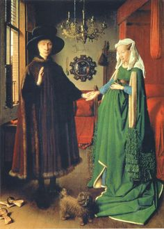 "Jan van Eyck. ""The Arnolfini Portrait"",1434 timeless painting with perfect detailing and numerous meanings"