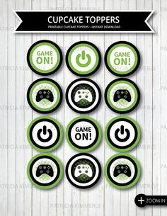 Printable Cupcake Toppers Video Game Party Game On Green