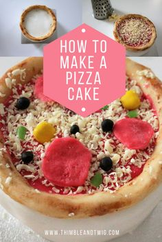 How to make a yummy pizza cake that looks like the real thing! A perfect pizza cake for your fun pizza themed birthday party! How to make a cake look like a real pizza.