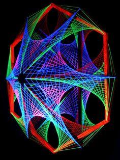 "115cm 3D String Art Deko ""Out Of Space"" Neon Party Blacklight | eBay"