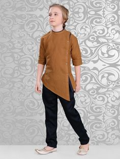 Shop Solid plain brown festive wear kurta suit online from India. Kurta Designs, Kids Kurta Pajama, Layered Kurta, Boys Kurta Design, Gents Kurta, Kids Ethnic Wear, Moslem, Kurta Men, Indian Groom Wear