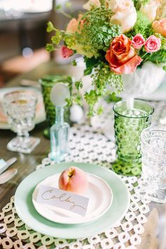 Peach, green and gold wedding palette- Southern Vintage rentals- Photography by Haley Sheffield
