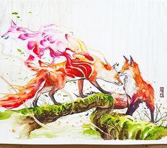 Tales of Fox by Art Jongkie watercolor painting 2016