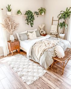 Cute Bedroom Ideas, Room Ideas Bedroom, Home Decor Bedroom, Nature Bedroom, Plants In Bedroom, Pretty Bedroom, Nature Inspired Bedroom, Earthy Bedroom, Earth Tone Bedroom