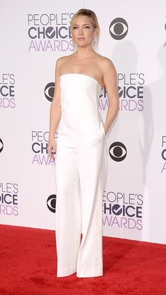 KATE HUDSON showing her love for jumpsuits once again in a white strapless Stella McCartney onesie, coordinating Jimmy Choo clutch and mega-drop Jorge Adeler earrings. Getty Updated: Thursday Jan 07, 2016 | 6:22 PM EST Copyright © 2016 Time Inc. All rights reserved. Reproduction in whole or in part without permission is prohibited.