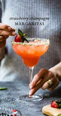 Strawberry Champagne Margaritas - Next level strawberry margarita recipe that is guaranteed to impress. #margarita #recipe #strawberry