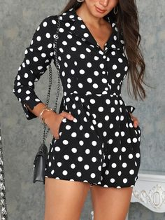 Shop Rompers Polka Dot V Neck Long Sleeve Romper Midi Dress With Sleeves, Long Sleeve Romper, Elegante Shorts, Womens Fashion Online, Dot Dress, Pattern Fashion, Spring Outfits, Ideias Fashion, Like4like