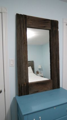 Rustic Reclaimed Barn Wood Mirror by YellowCottageHome on Etsy