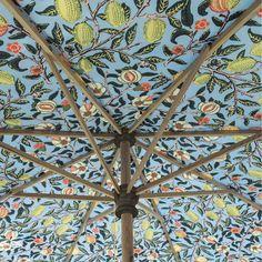 Parasol Base, Parasol Covers, William Morris Patterns, Garden Parasols, Pink Garden, Paint Effects, Brass Fittings, Summer Accessories