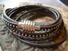 High Quality Double Wrap Leather Bracelet by UrbanSurvivalGearUSA