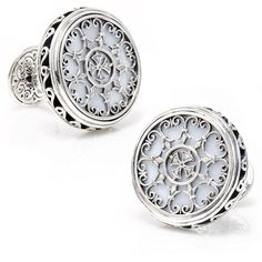 Sterling Round Scroll with MOP Cufflinks