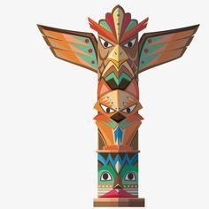 Vector vertical totem, Animal Totem, Exotic, Decoracion PNG y Vector Native American Totem, Native American Spirituality, Native American Crafts, American Indian Art, Totem Pole Art, Tiki Totem, Anniversaire Cow-boy, Navajo Art, Cardboard Box Crafts