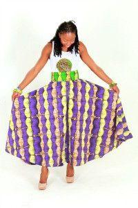 Green African Ankara Print Maxi Skirt ~African fashion, Ankara, kitenge, African women dresses, African prints, African men's fashion, Nigerian style, Ghanaian fashion ~DKK