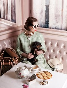 Chic with a dachshund....nothing better...tea time..