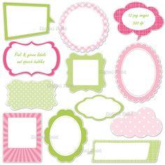 free printable label pink green black - Google Search