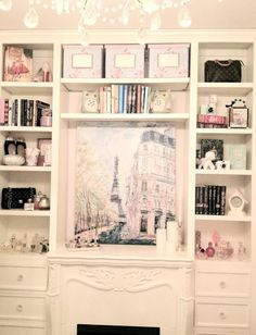 I love this youtube guru's (elle fowler) bedroom. Girly and romantic. The shelves surrounding her fireplace are a nice touch.