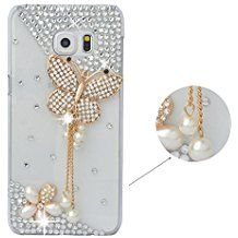 Spritech (TM) cristal Decor caso Bling 3d diseño de diamantes de imitación de mariposa elegante flor claro duro funda
