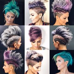 It's sure been a colorful couple of years Which is your favorite? Undercut Hairstyles, Funky Hairstyles, Short Hair Cuts, Short Hair Styles, Shaved Hair Designs, Hair Tattoos, Pinterest Hair, Pixie Haircut, Pixie Mohawk