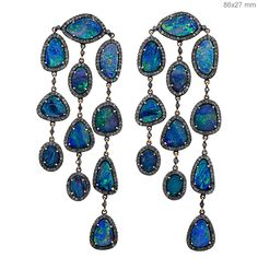 14K Gold Pave Diamond Designer Opal Dangle Earrings Collection Jewelry