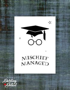 "Harry Potter Graduation Card | Mischief Managed | Blank Interior | Printable Digital Download | 5x7"" A7  US$1.99"