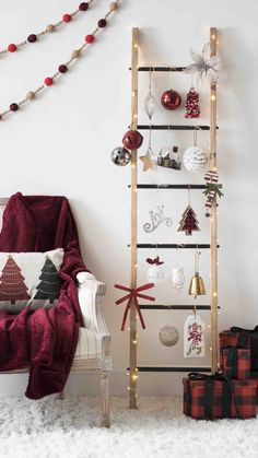 Traditional Christmas tree won't work for you? We have some fun ideas (no water necessary) for showing your festive side in a small space. Woodland Christmas, Noel Christmas, Christmas Crafts, Ladder Christmas Tree, Christmas Ideas, Creative Christmas Trees, Christmas Tree Decorations, Holiday Decor, Traditional Christmas Tree